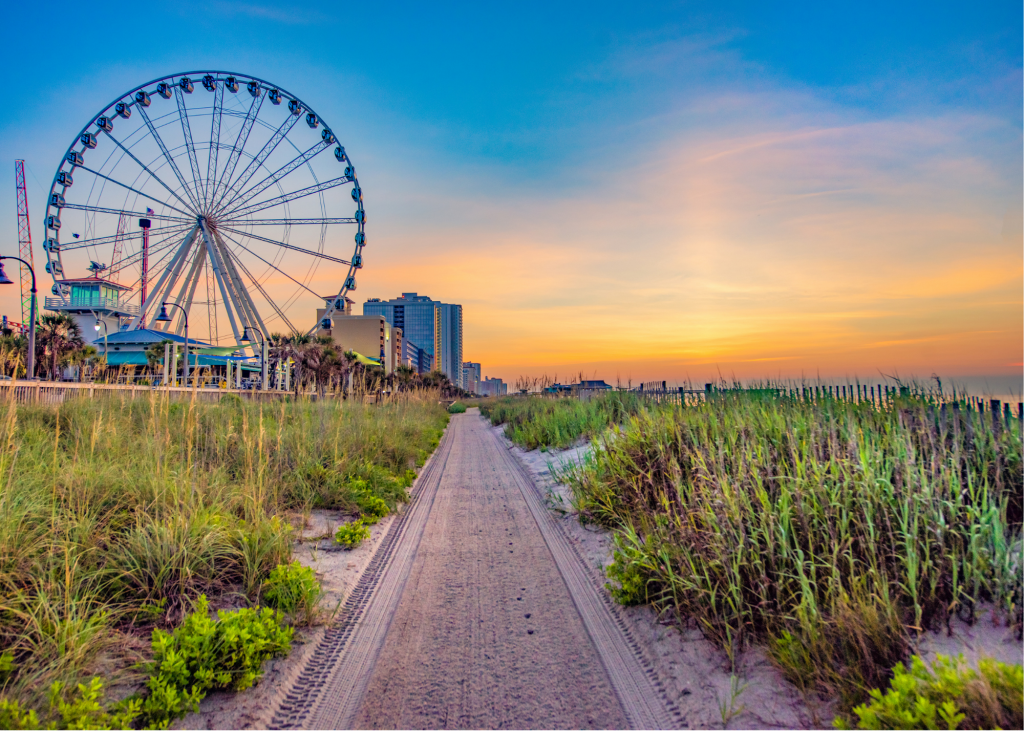 picture of Myrtle Beach SkyWheel in background with sand and sand dunes